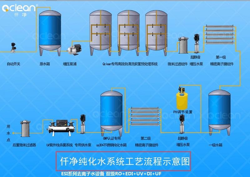 ESI系列去离子水设备双级反渗透+EDI流程图.jpg